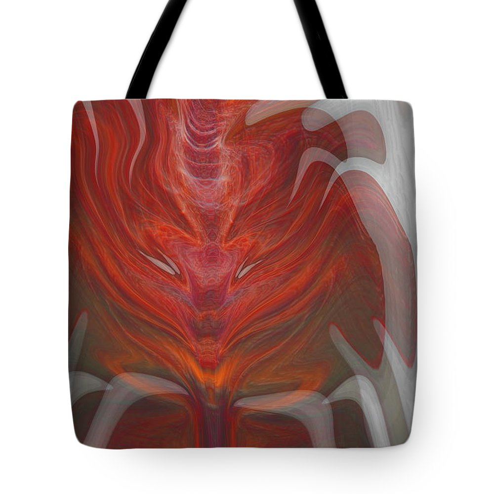 Abstract Tote Bag featuring the digital art The Devil Inside by Linda Sannuti