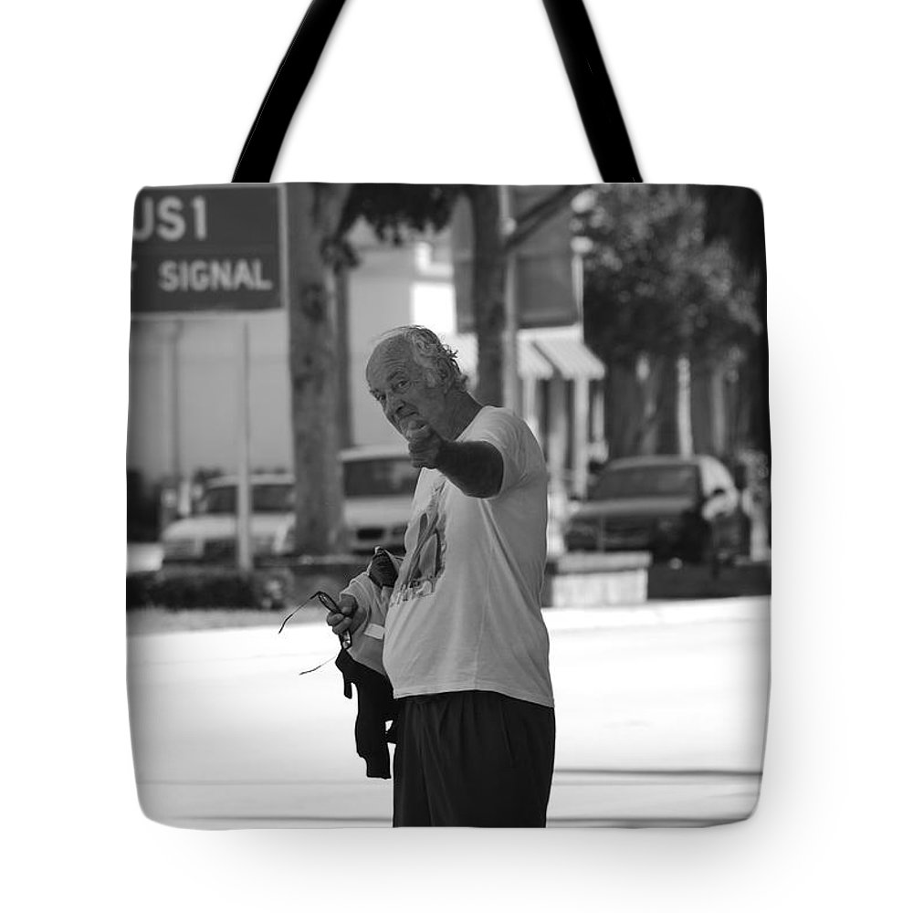 Black And White Tote Bag featuring the photograph The Devil Man by Rob Hans