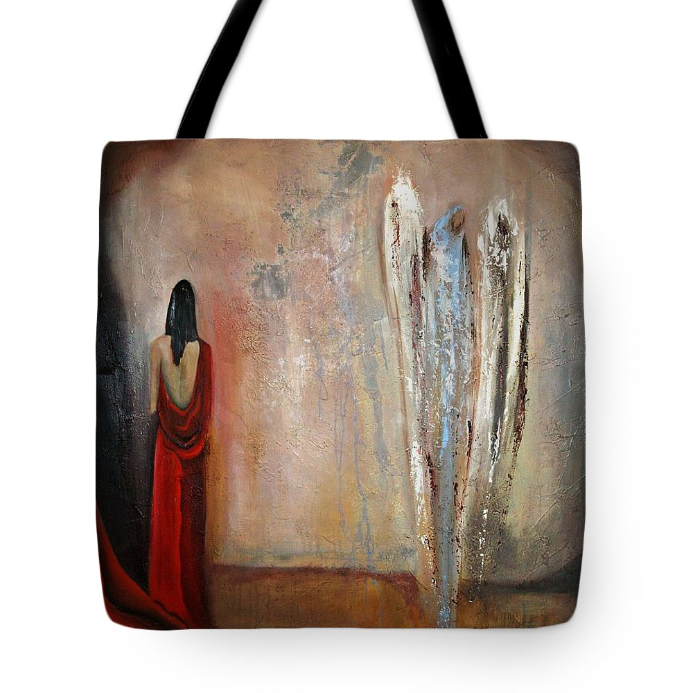 Angels Tote Bag featuring the painting The Devine Messenger by Niki Sands