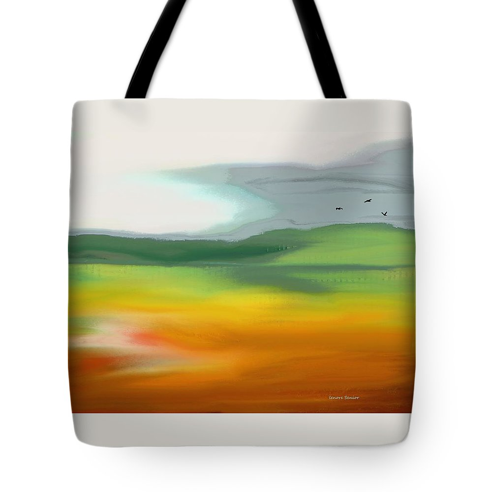 Abstract Tote Bag featuring the painting The Distant Hills by Lenore Senior
