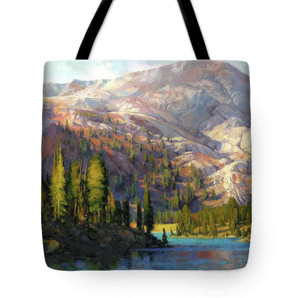 Mountain Tote Bag featuring the painting The Divide by Steve Henderson