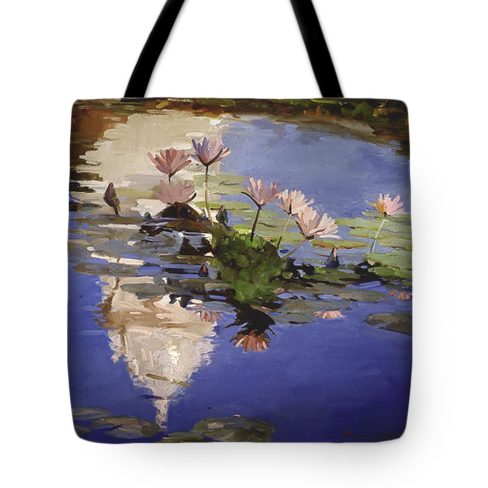 Water Lilies Tote Bag featuring the painting The Dome - Water Lilies by Betty Jean Billups