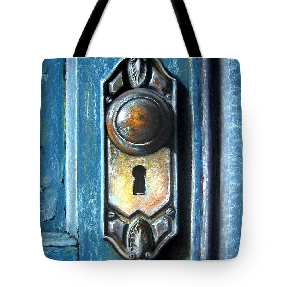 Door Knob Tote Bag featuring the painting The Door Knob by Leyla Munteanu