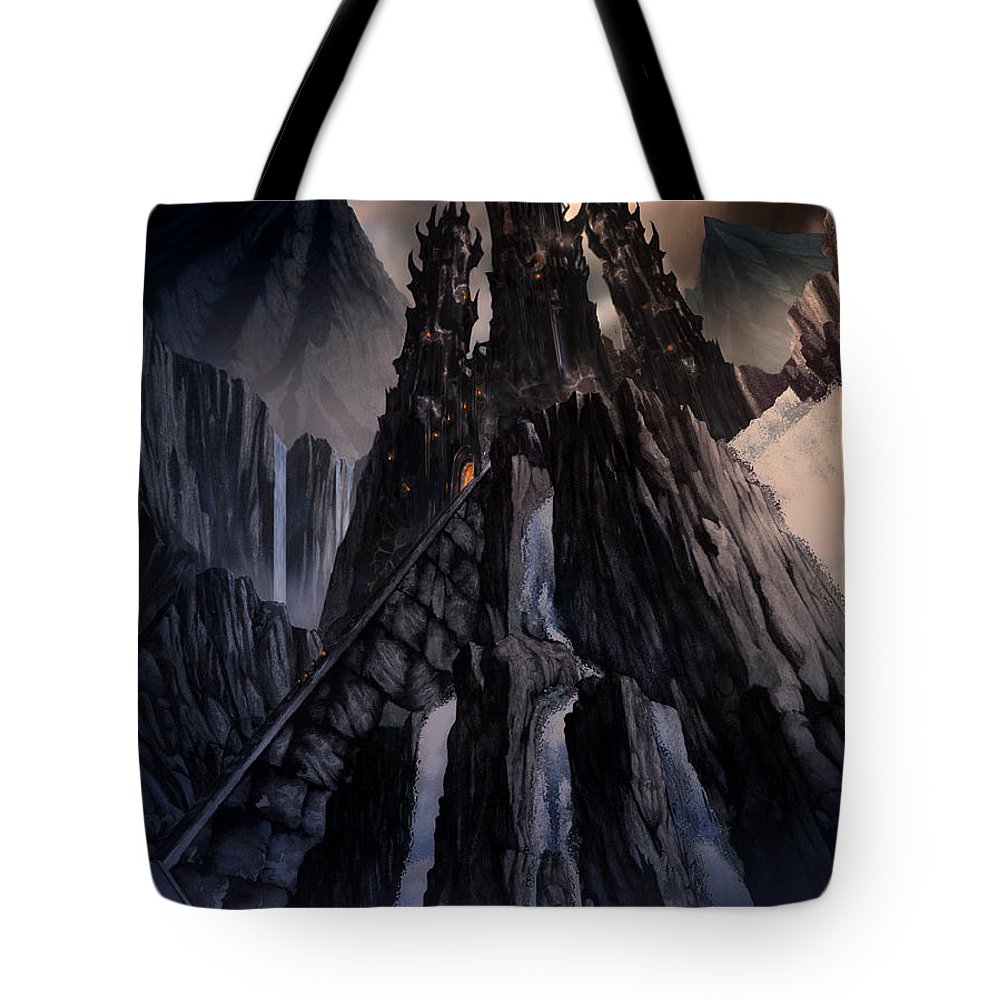 Architectural Tote Bag featuring the mixed media The Dragon Gate by Curtiss Shaffer