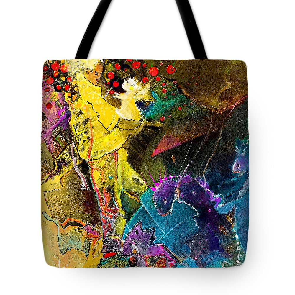 Fantasy Tote Bag featuring the painting The Dragon Nursery Under The Apple Tree by Miki De Goodaboom