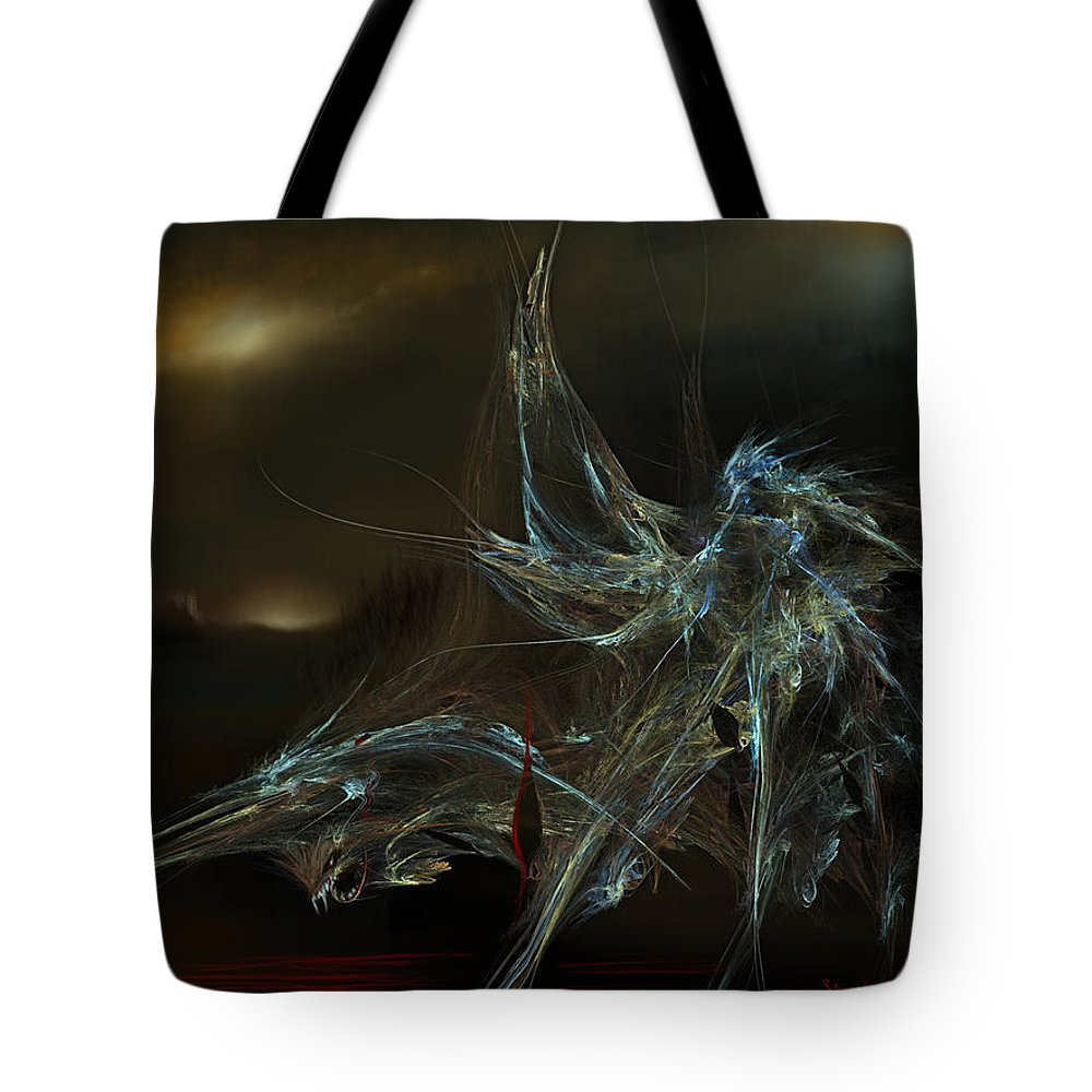 Dragon Warrior Medieval Fantasy Darkness Tote Bag featuring the digital art The Dragon Warrior by Veronica Jackson