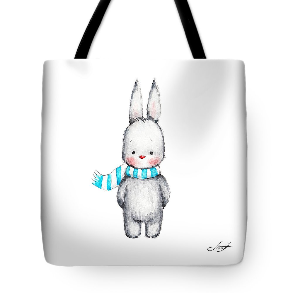 Cartoon Tote Bag featuring the painting The Drawing Of Cute Bunny In Scarf by Anna Abramska