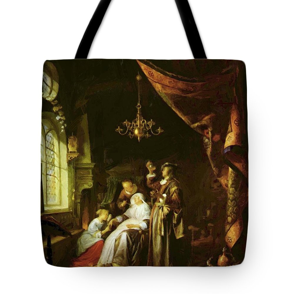 The Tote Bag featuring the painting The Dropsical Woman by Dou Gerrit
