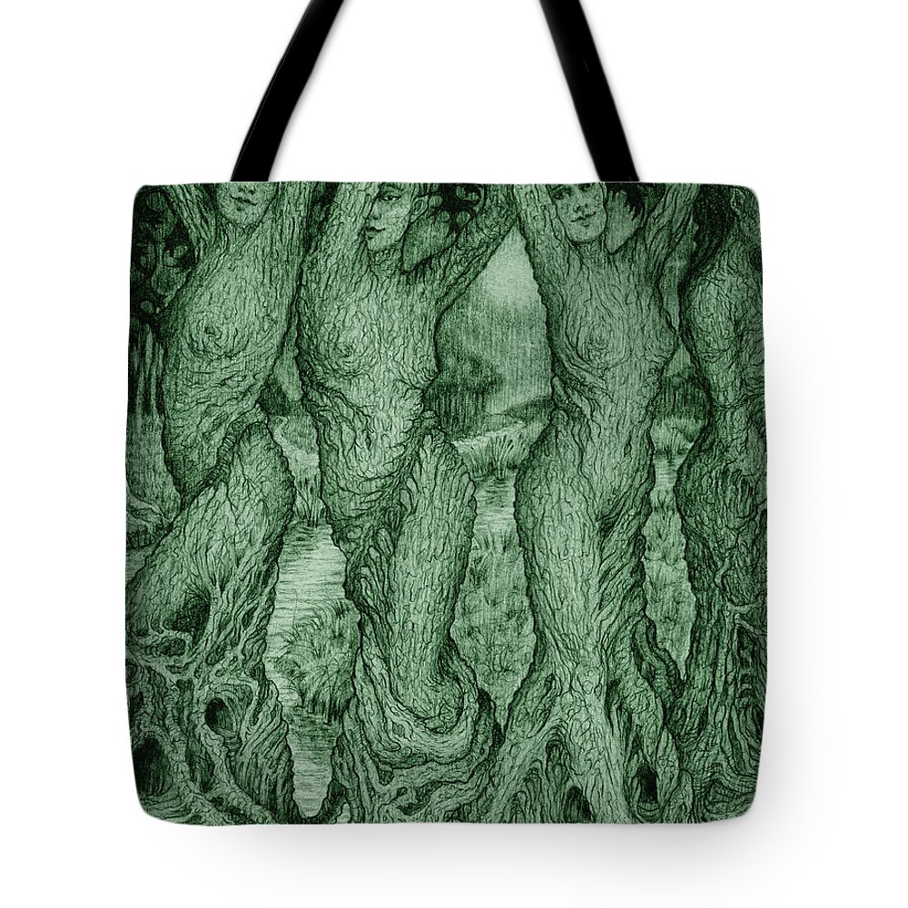 Mythology Tote Bag featuring the drawing The Dryads by Debra A Hitchcock