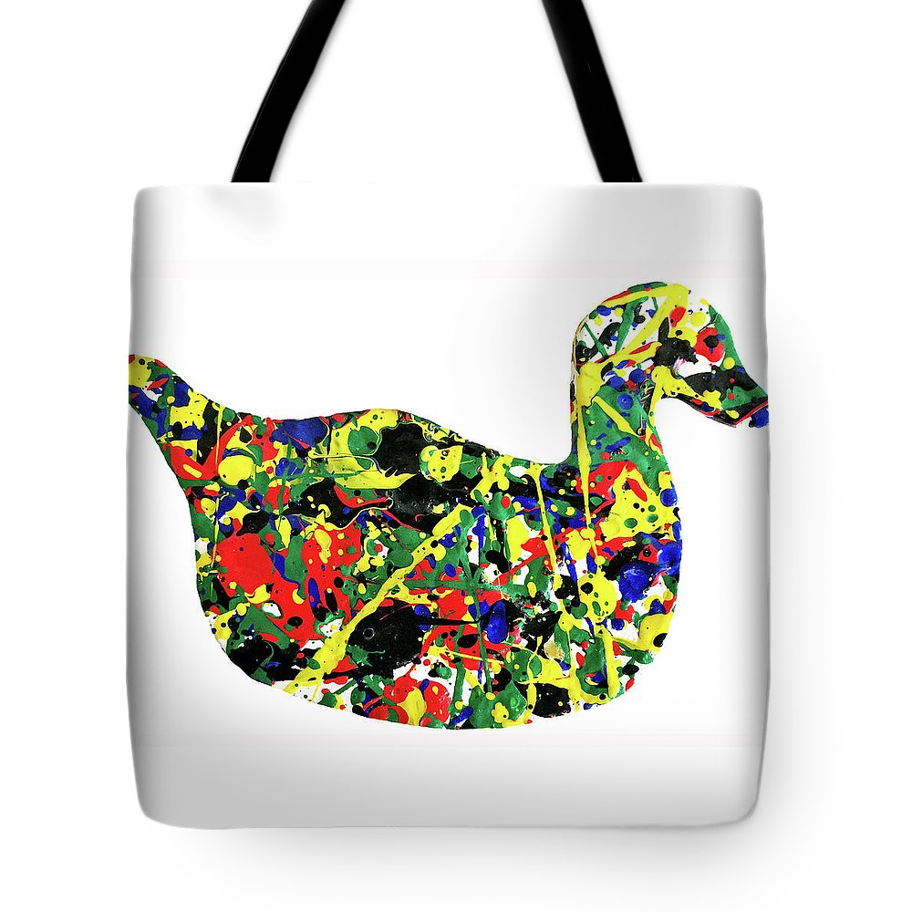 Abstract Tote Bag featuring the painting The Duck by Ducksy