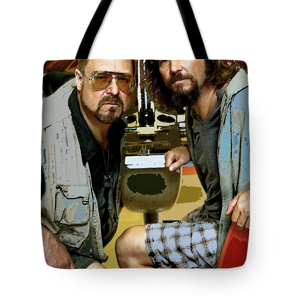The Dude Abides Mixed Media Tote Bags