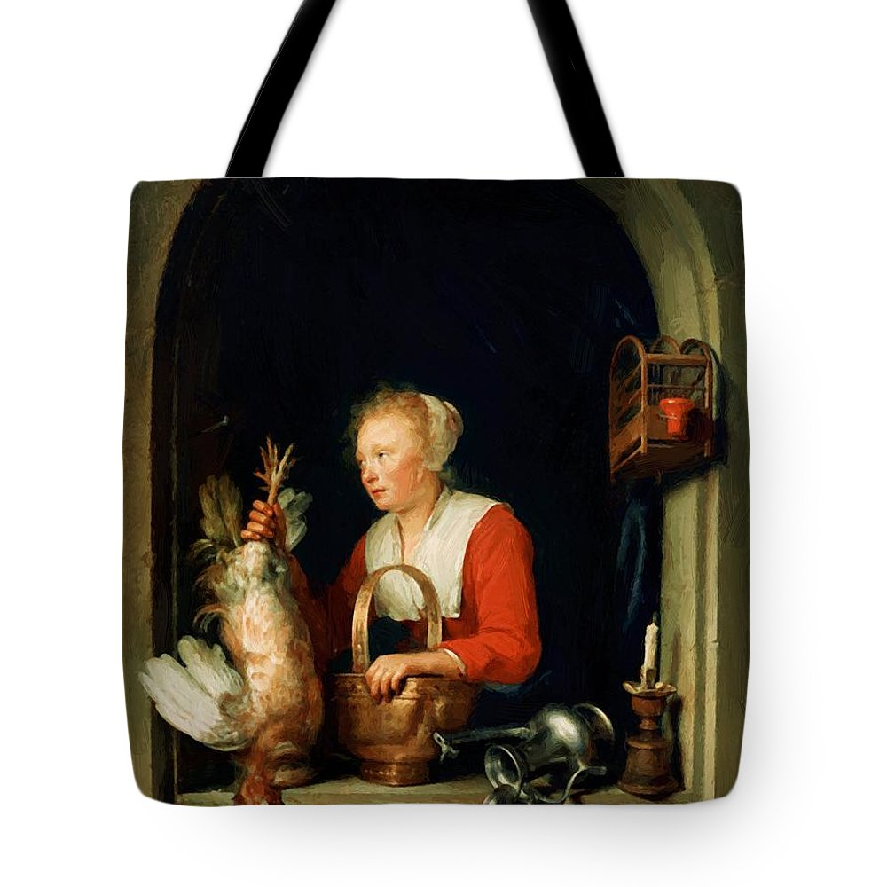 The Tote Bag featuring the painting The Dutch Housewife Or The Woman Hanging A Cockerel In The Window 1650 by Dou Gerrit