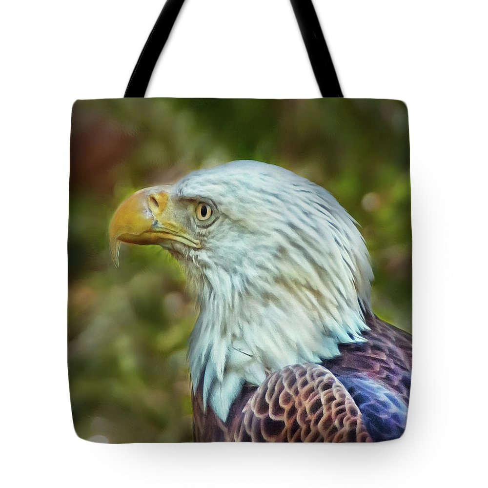 Eagle Tote Bag featuring the photograph The Eagle Look by Hanny Heim