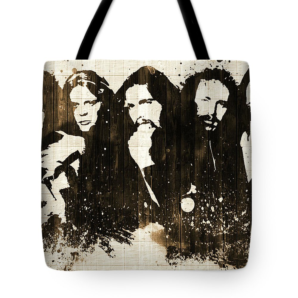 The Eagles Rustic Tote Bag featuring the mixed media The Eagles Rustic by Dan Sproul