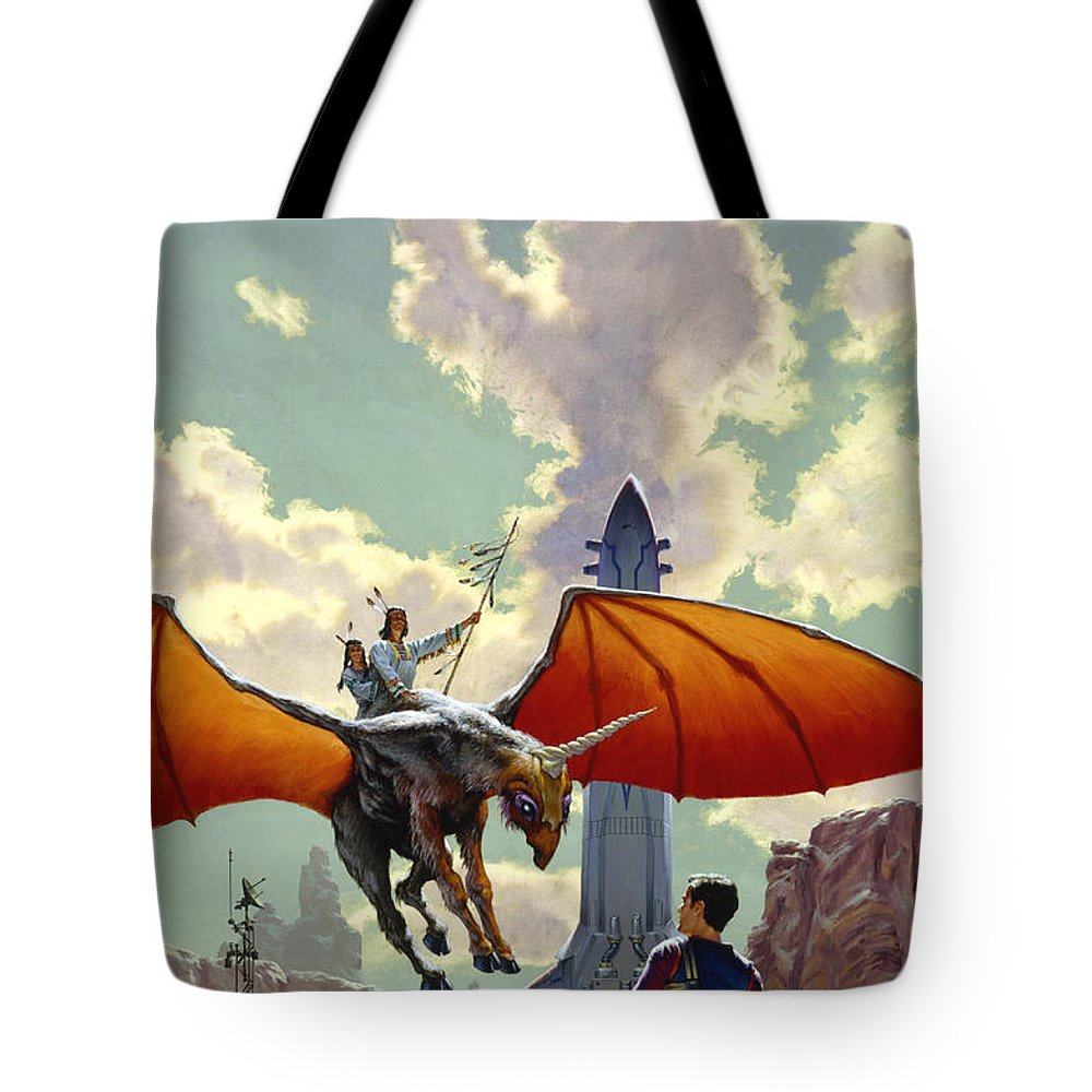 Space Tote Bag featuring the painting The Earth Is All That Lasts by Richard Hescox