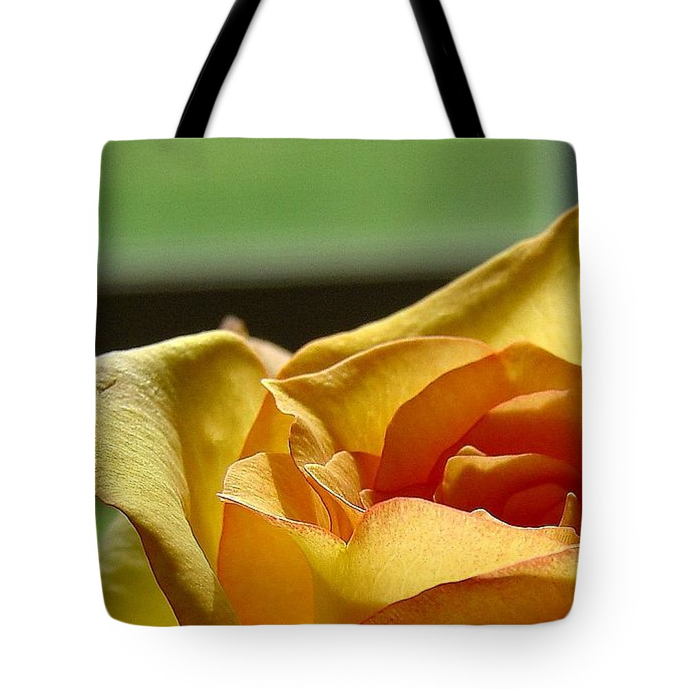 Rose Yellow Tote Bag featuring the photograph The Edge Of Yellow by Luciana Seymour