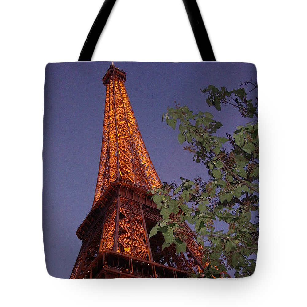 Tower Tote Bag featuring the photograph The Eiffel Tower Aglow by Nadine Rippelmeyer
