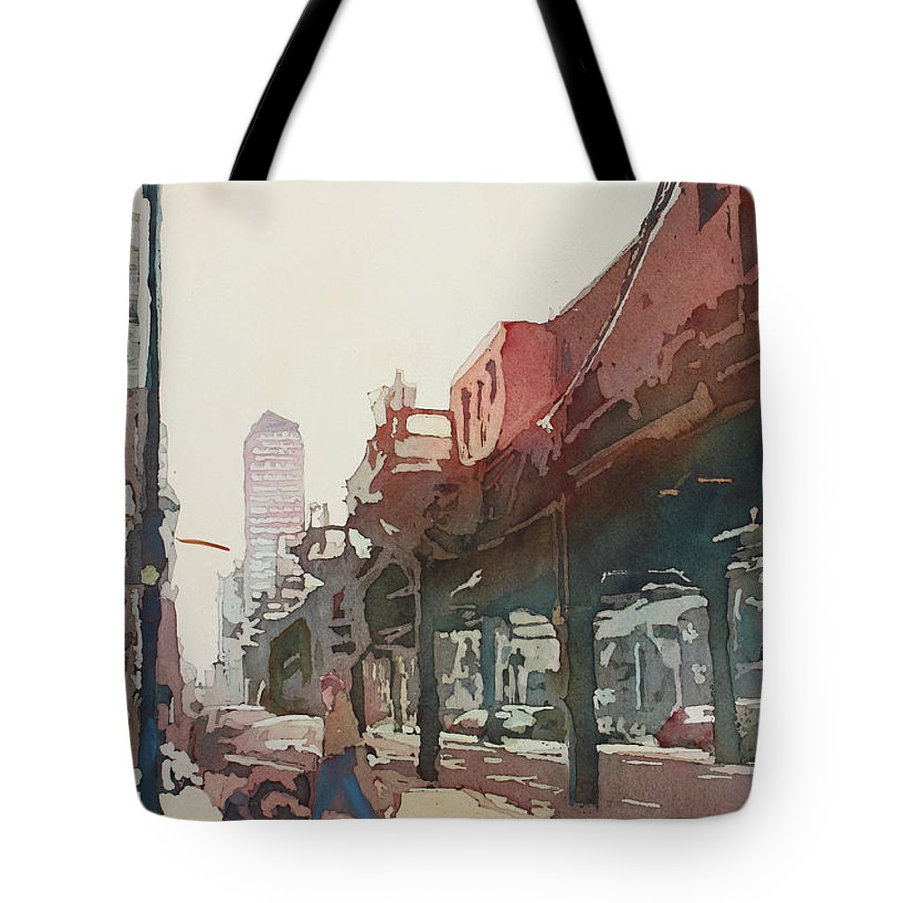 Downtown Tote Bag featuring the painting The El by Jenny Armitage