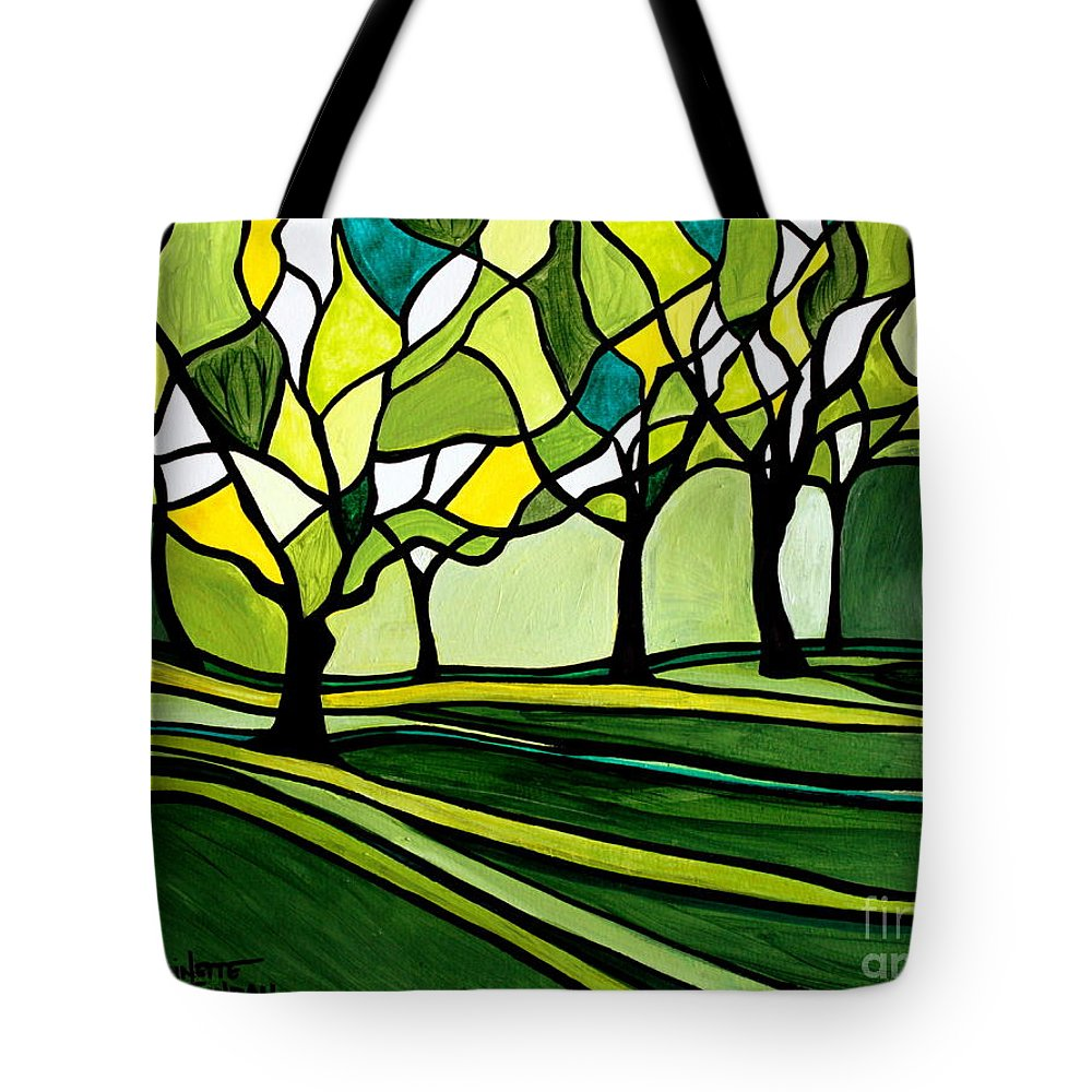 Emerald Tote Bag featuring the painting The Emerald Glass Forest by Elizabeth Robinette Tyndall