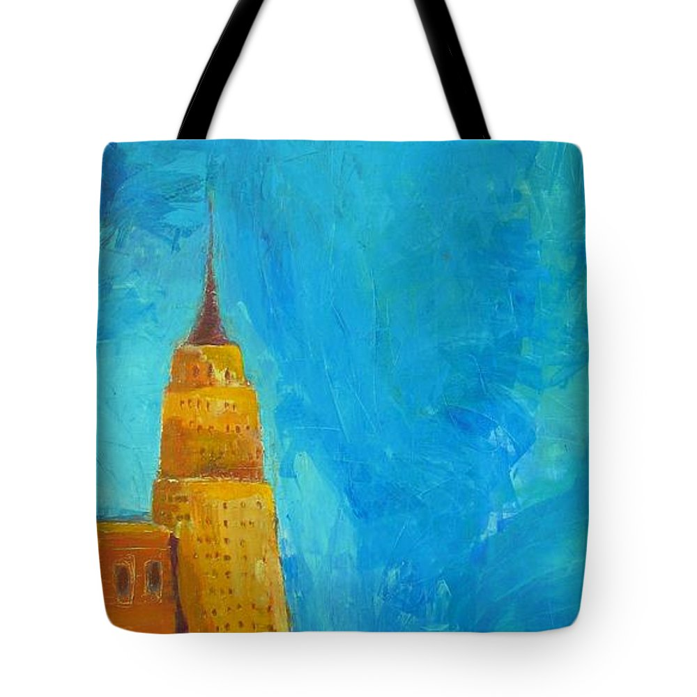 Abstract Cityscape Tote Bag featuring the painting The Empire State by Habib Ayat