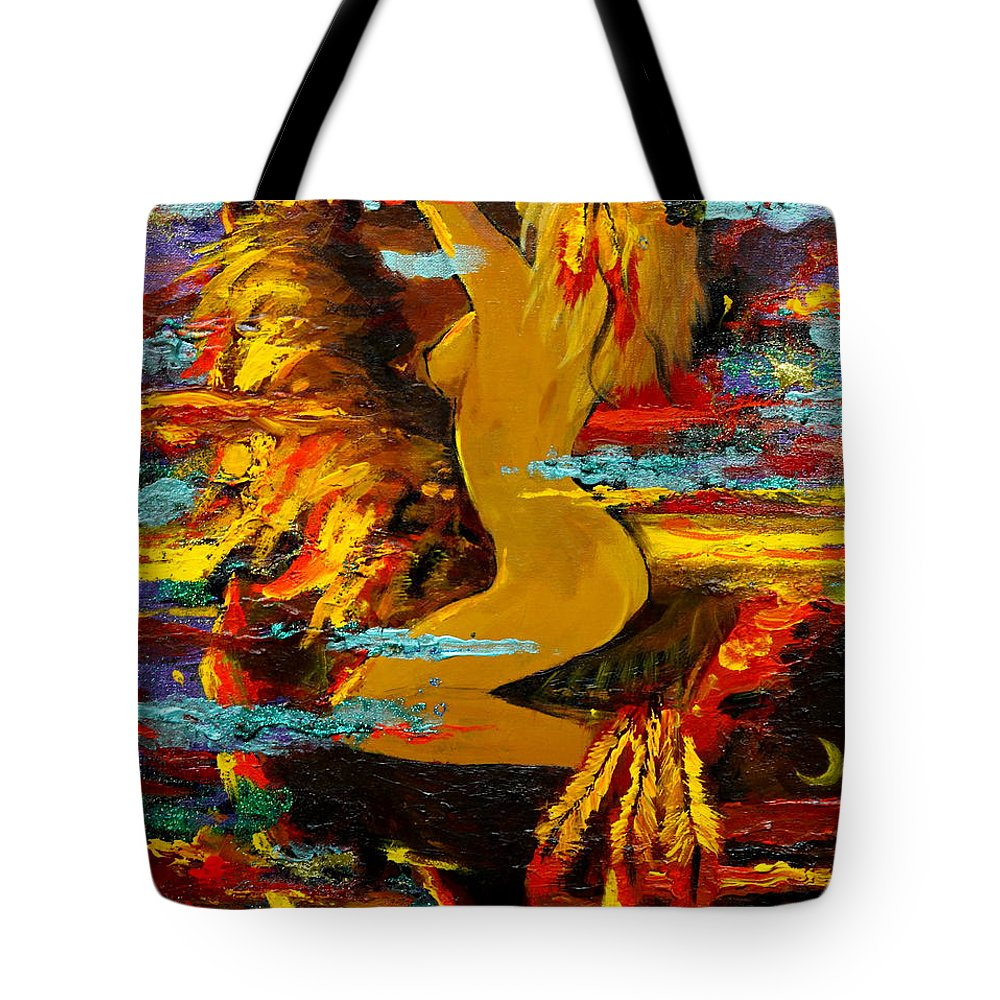 Abstract Tote Bag featuring the painting The Eternal Sea - Self Portrait by Karon Melillo DeVega