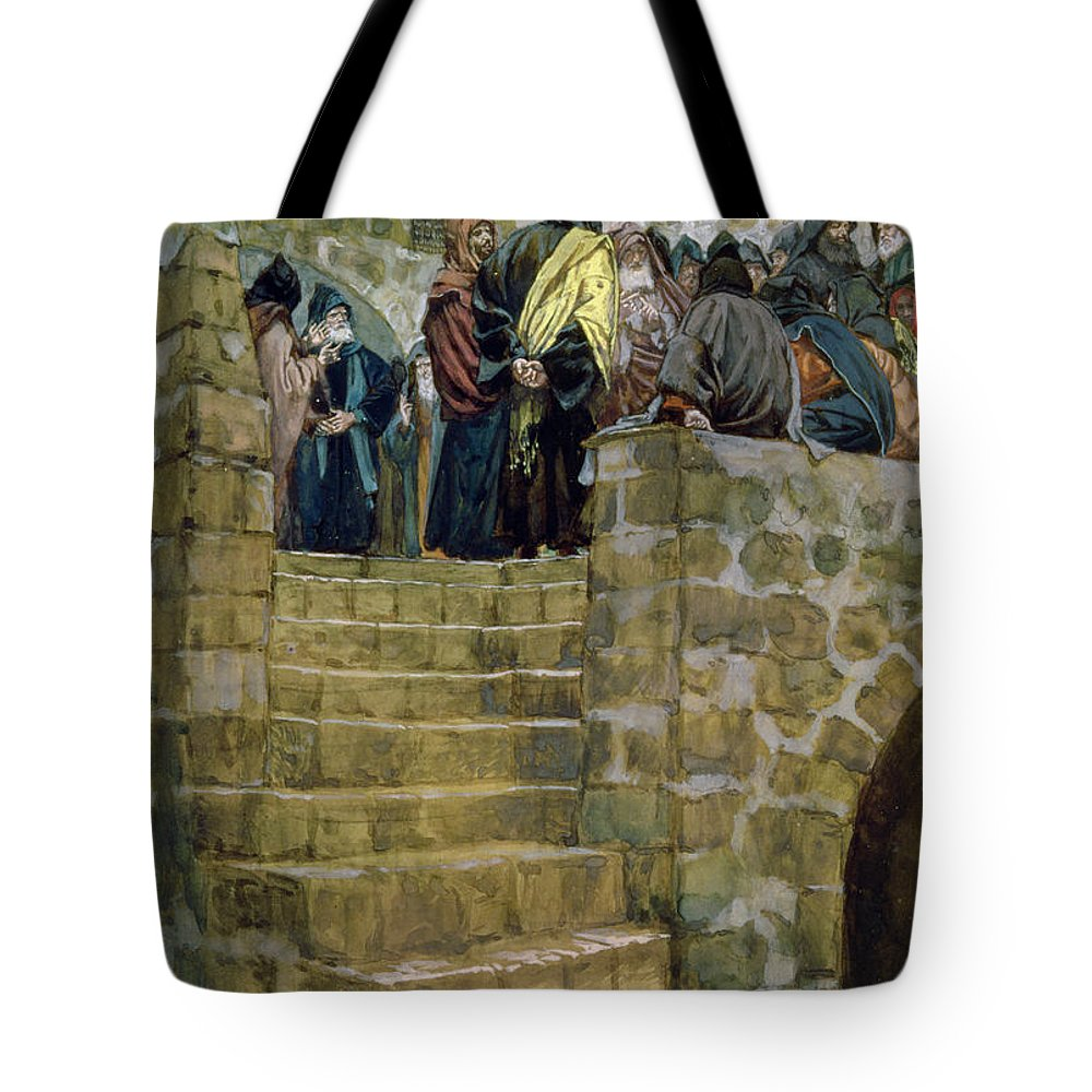 The Tote Bag featuring the painting The Evil Counsel Of Caiaphas by Tissot