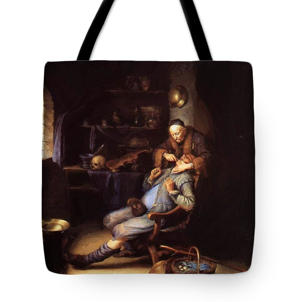 The Tote Bag featuring the painting The Extraction Of Tooth 1635 by Dou Gerrit
