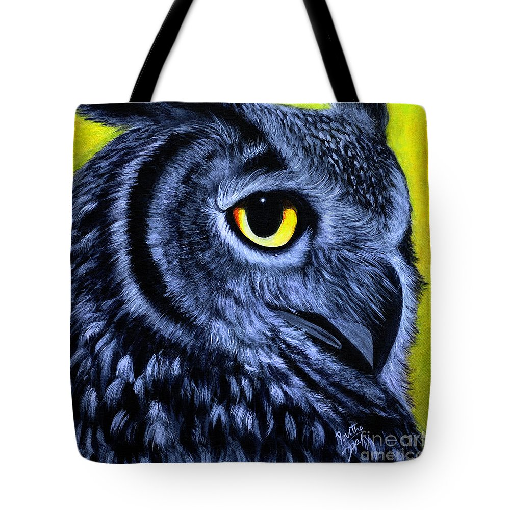 Owl Series Acrylic Paintings Tote Bag featuring the painting The Eye Of The Owl -the Goobe Series by Pavitha Ashwin