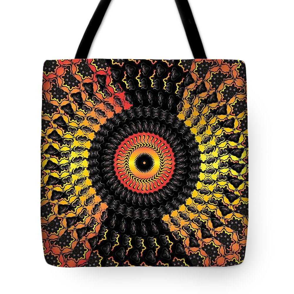 Colorful Tote Bag featuring the digital art The Eye Of The Storm by Robert Orinski