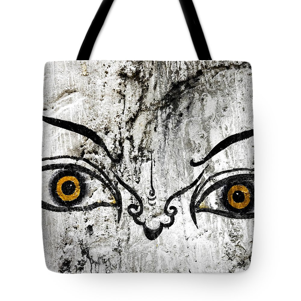 Bhutan Tote Bag featuring the photograph The Eyes Of Guru Rimpoche by Fabrizio Troiani
