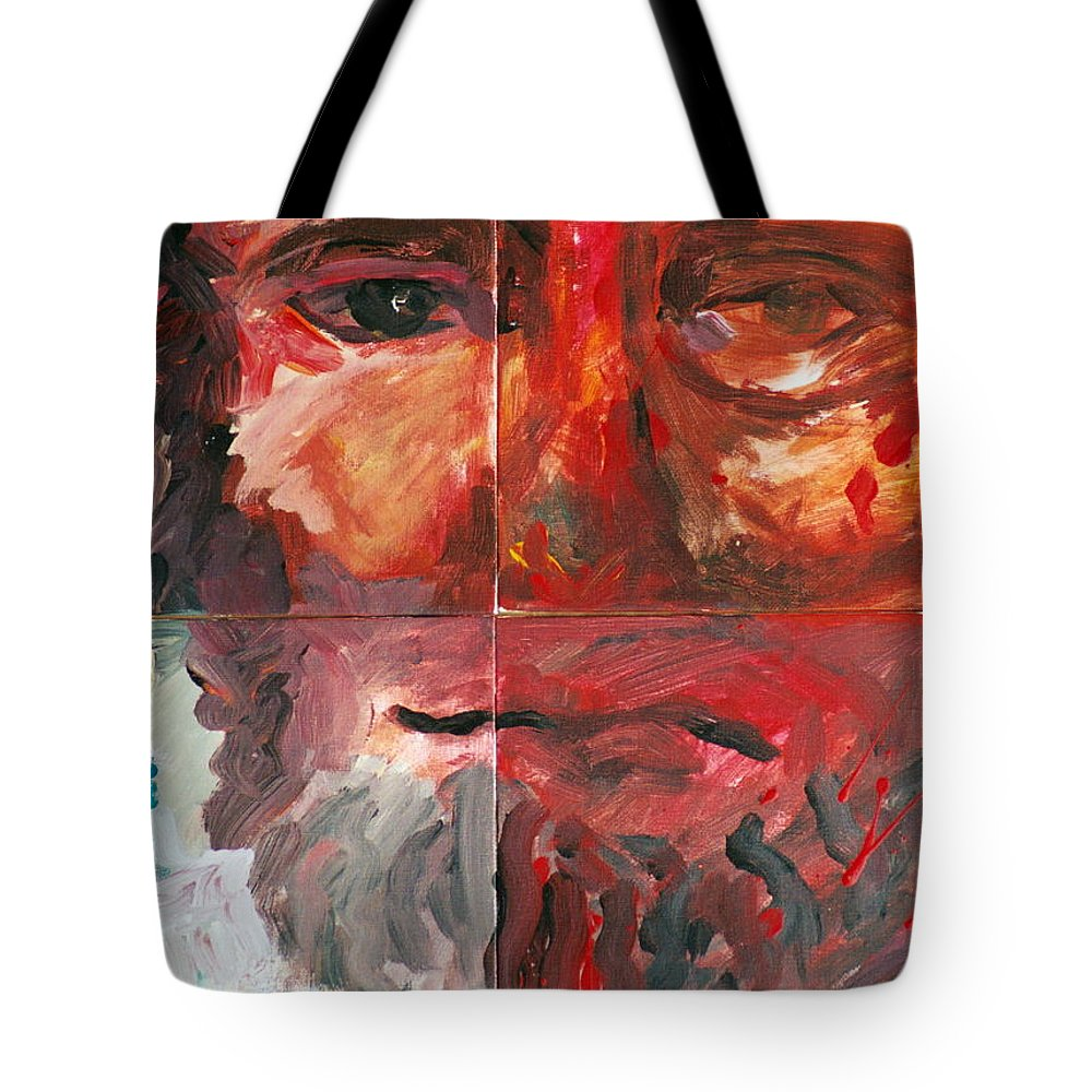 Jesus Tote Bag featuring the painting The Face Of Love by Jun Jamosmos