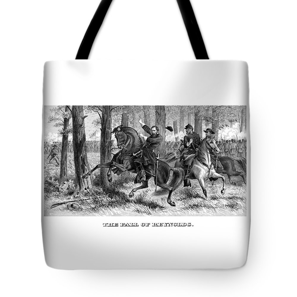 Civil War Tote Bag featuring the painting The Fall Of Reynolds - Civil War by War Is Hell Store