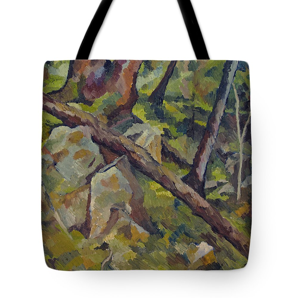 Impressionism Tote Bag featuring the painting The Fallen Tree by Don Perino