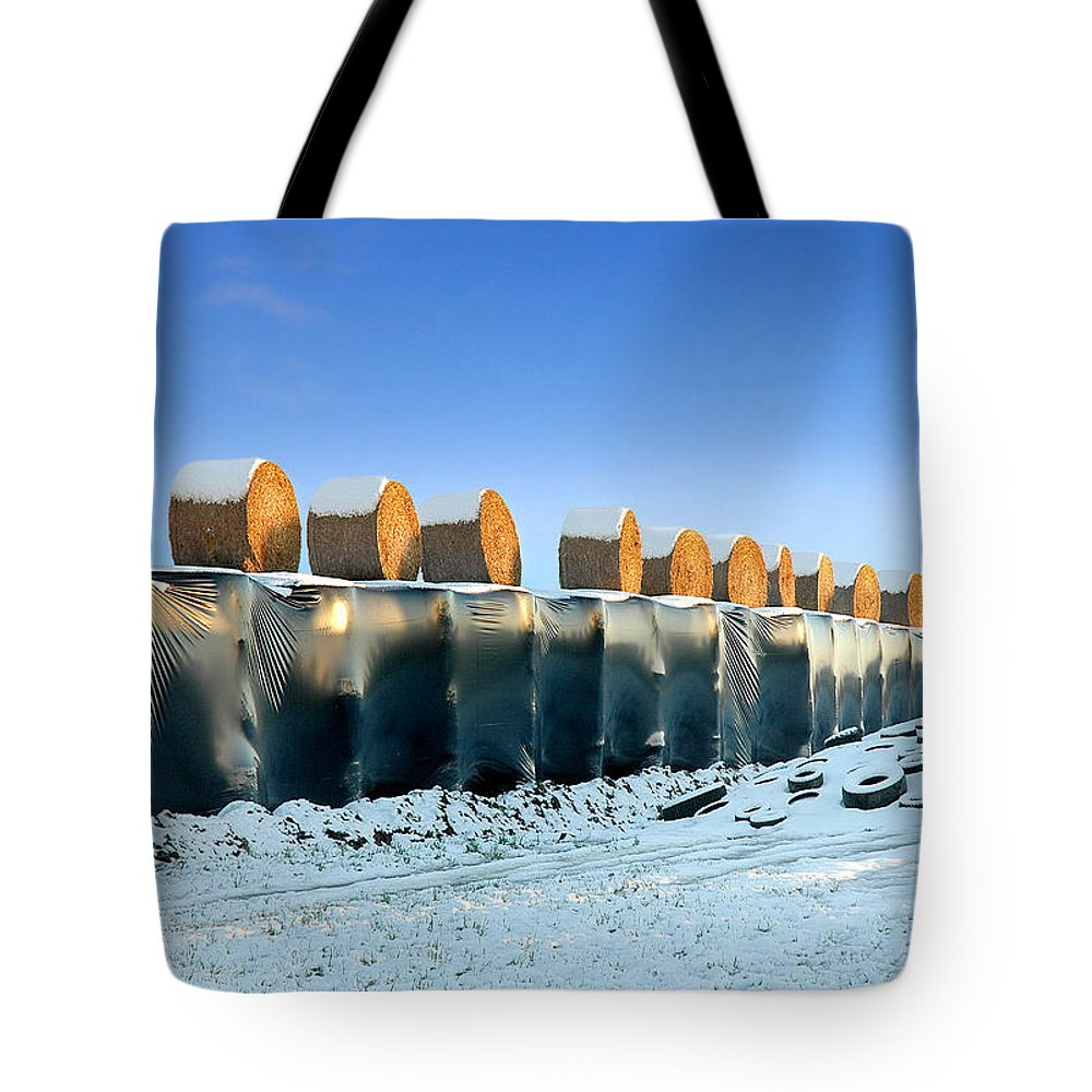 Hay Tote Bag featuring the photograph The Farmer As Artist by Robert Lacy