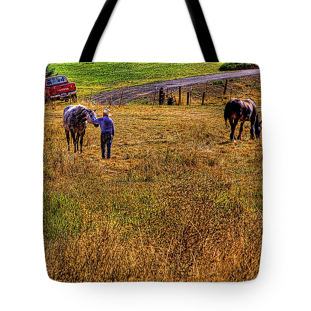 Landscape Tote Bag featuring the photograph The Farmers Friend by David Patterson