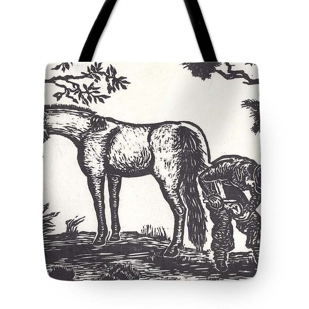 Horse Tote Bag featuring the drawing The Farrier Trims Geronimo by Dawn Senior-Trask