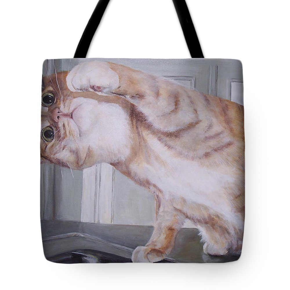 Cat Tote Bag featuring the painting The Faucet by Elizabeth Ellis