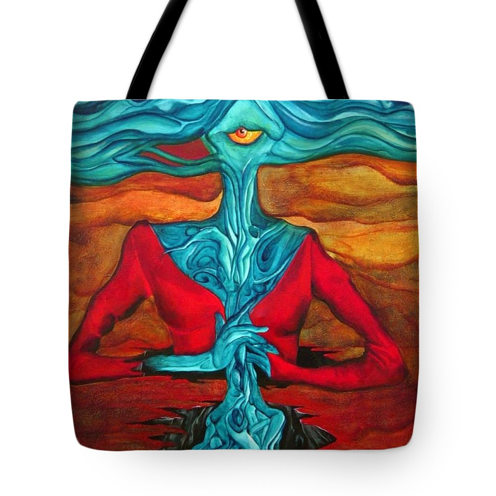 Feast Woman Blue Eye Eat Red Earth Tote Bag featuring the painting The Feast by Veronica Jackson