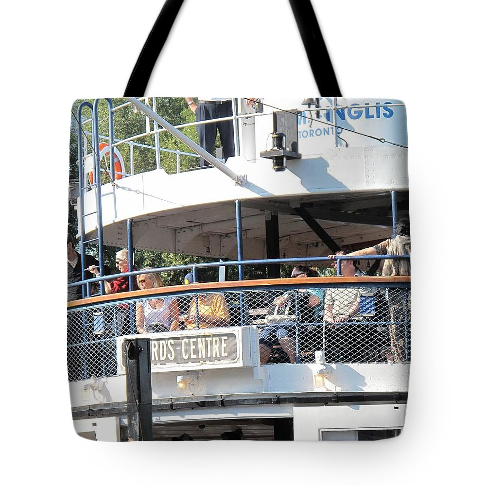 Ferry Tote Bag featuring the photograph The Ferry Arrives by Ian MacDonald