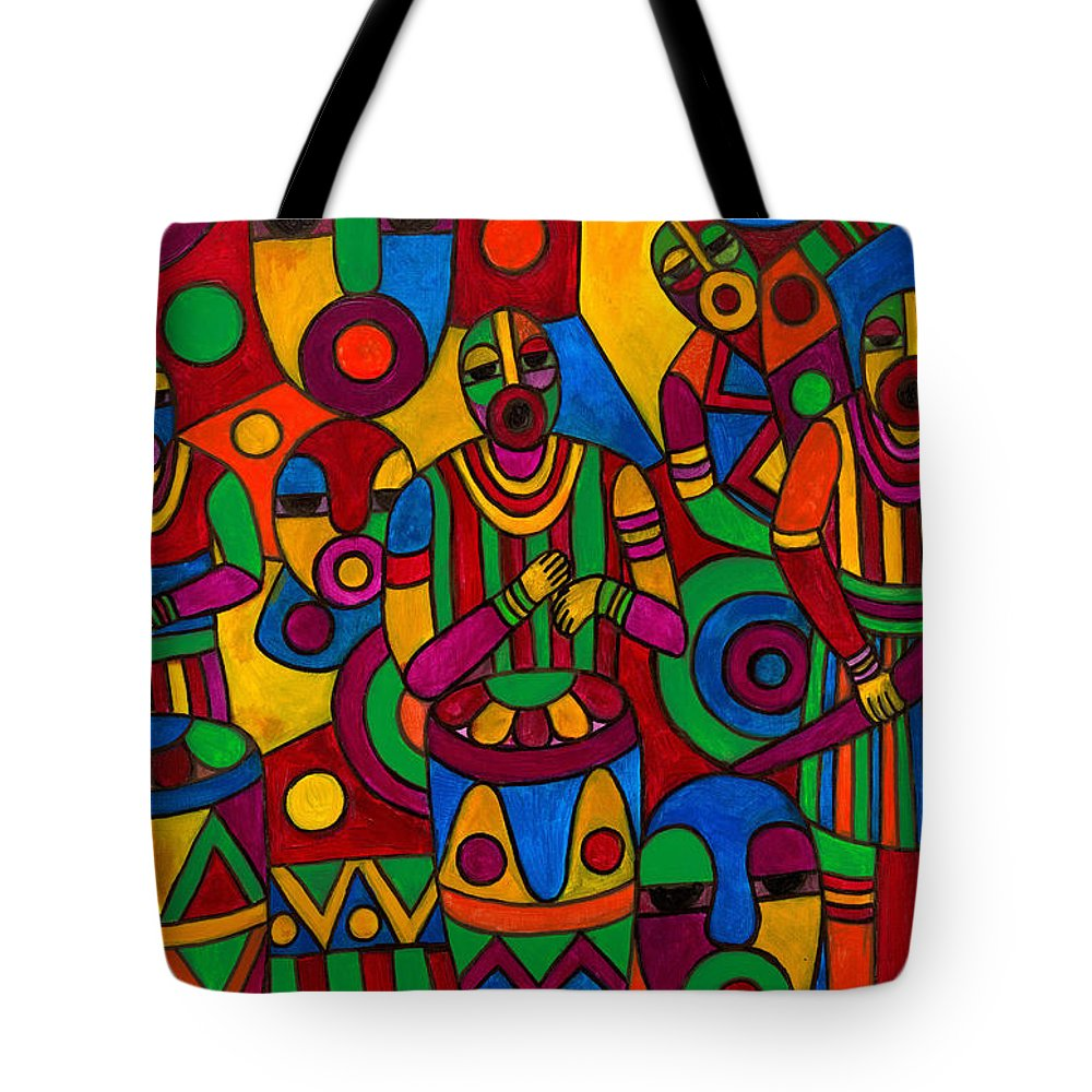 Abstract Tote Bag featuring the painting The Festival by Emeka Okoro