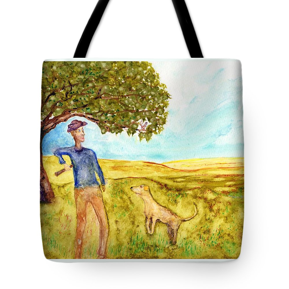 Jim Taylor Tote Bag featuring the painting The Fetching Game by Jim Taylor