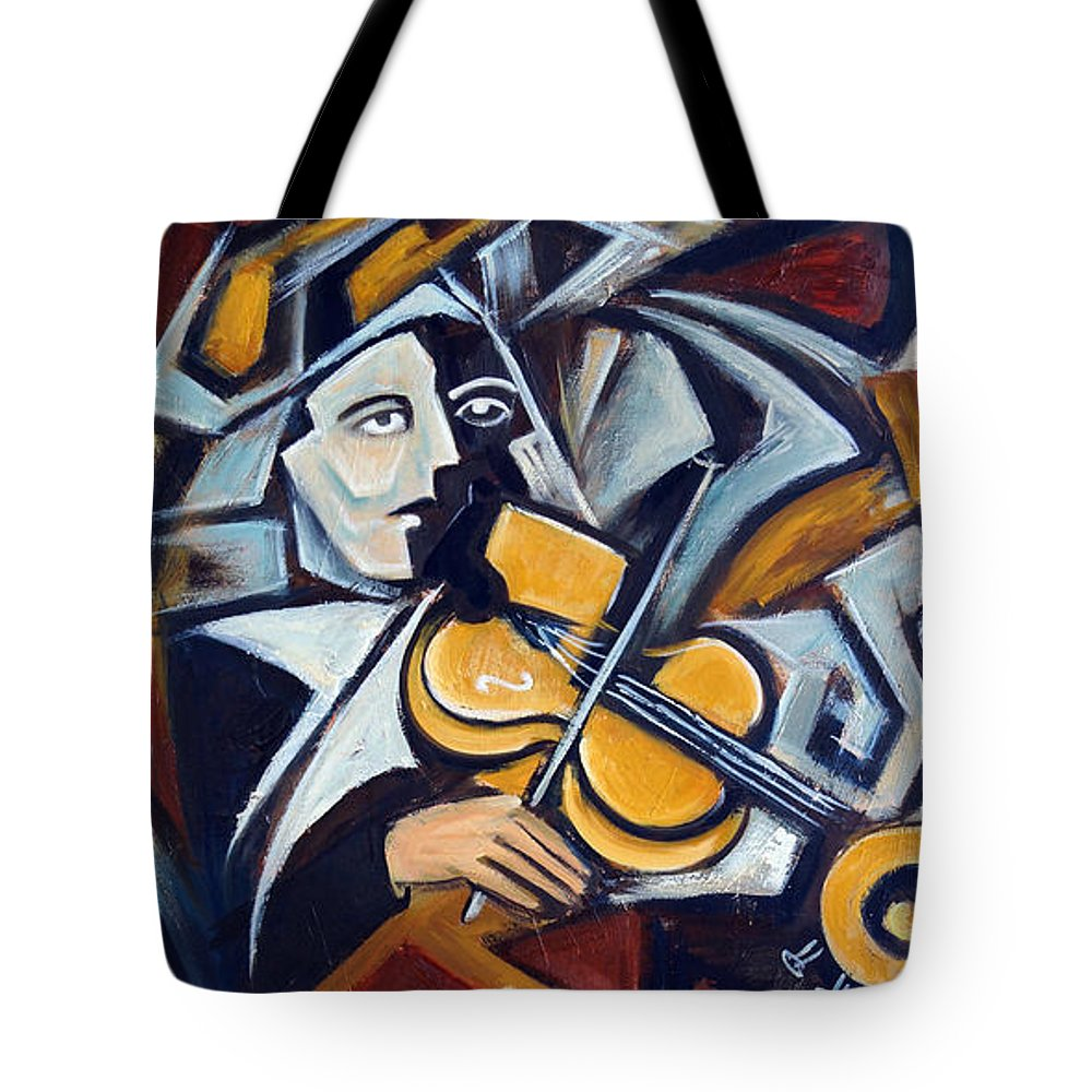 Musician Tote Bag featuring the painting The Fiddler by Valerie Vescovi