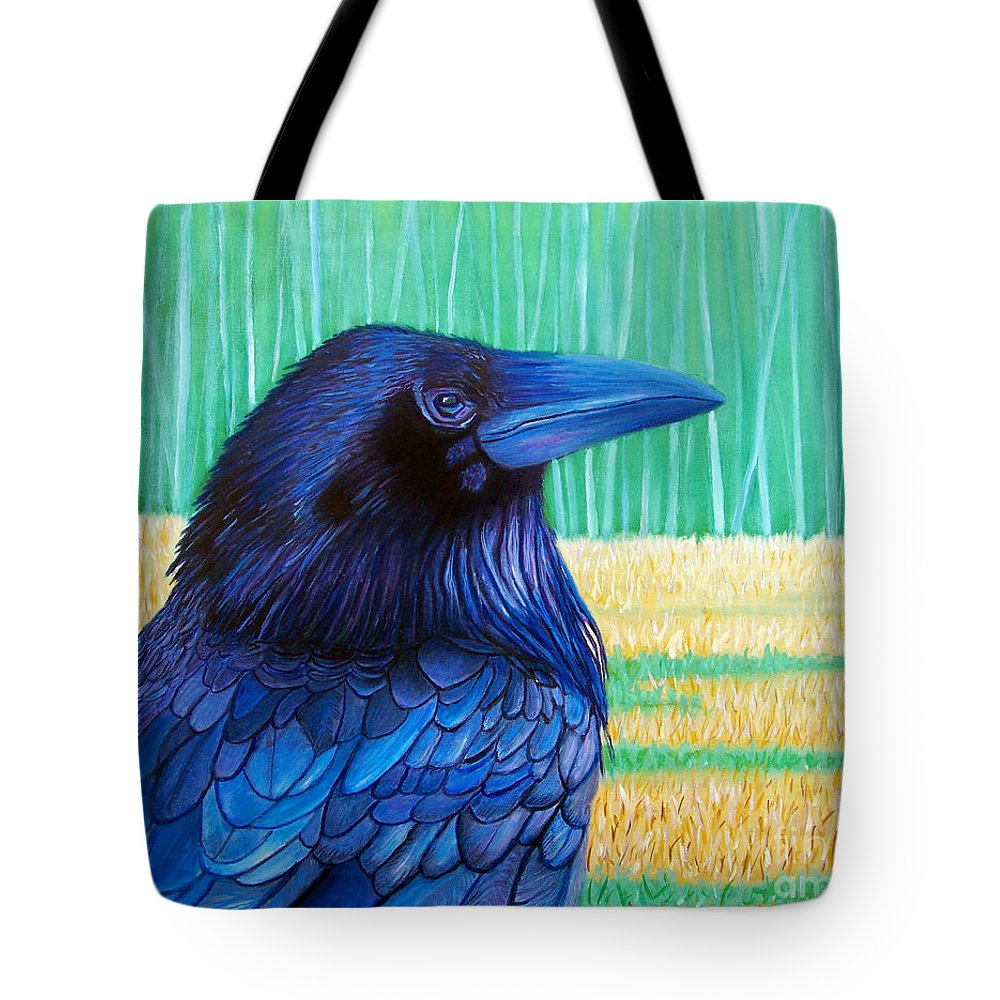 Raven Tote Bag featuring the painting The Field Of Dreams by Brian Commerford