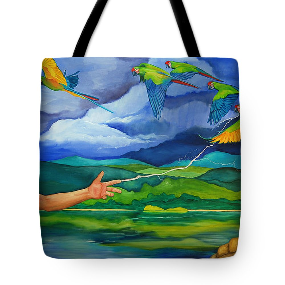 God Tote Bag featuring the painting The Fifth Day by Robert Lacy