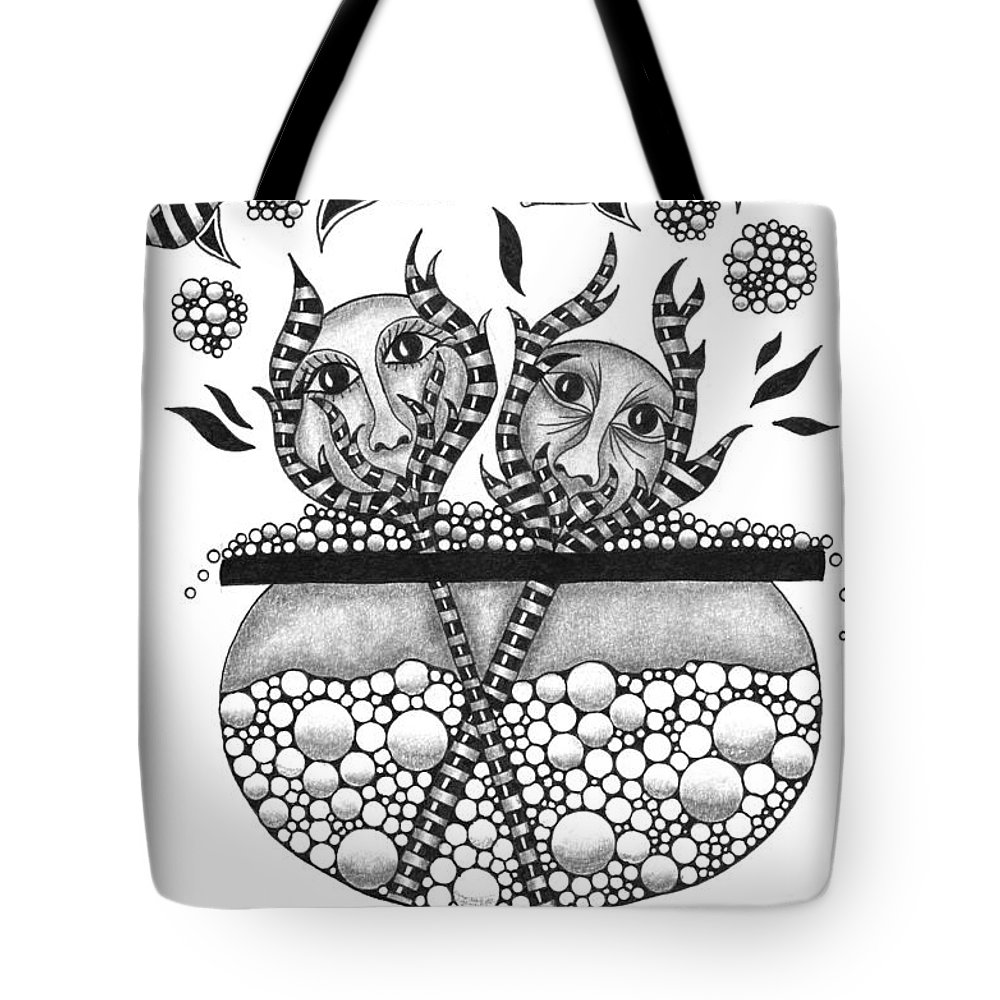 Pen Tote Bag featuring the drawing The Fire Within by Cathy Nestroyl