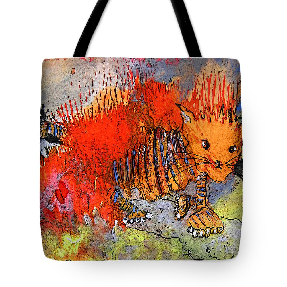 Firecat Tote Bag featuring the painting The Firecat by Miki De Goodaboom