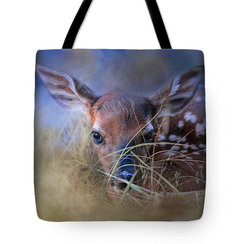 Jai Johnson Tote Bag featuring the photograph The First Fawn by Jai Johnson