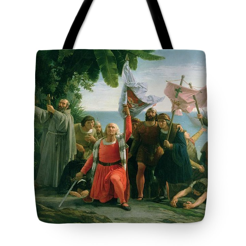 The First Landing Of Christopher Columbus Tote Bag featuring the painting The First Landing Of Christopher Columbus by Dioscoro Teofilo Puebla Tolin