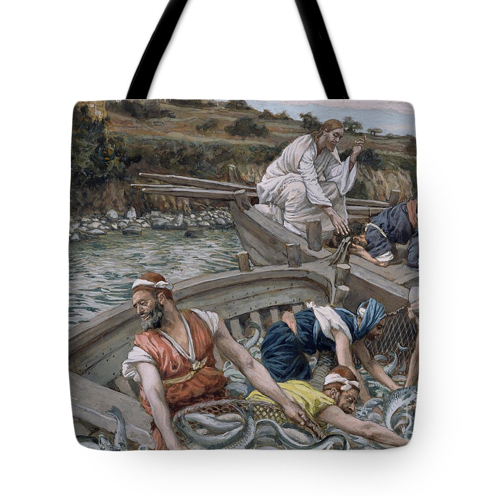 Eel Tote Bag featuring the painting The First Miraculous Draught Of Fish by Tissot