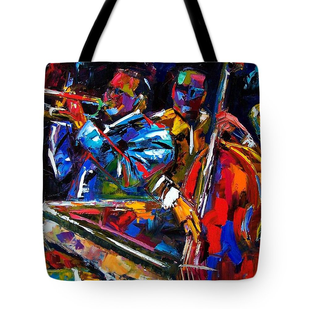 Jazz Tote Bag featuring the painting The First Set by Debra Hurd